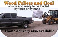 wood pellets and coal available onsite, can be loaded by forks or by hand
